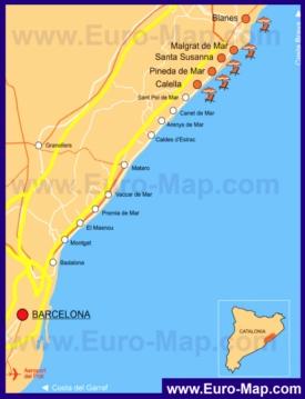 Подробная карта побережья Коста-дель-Маресме