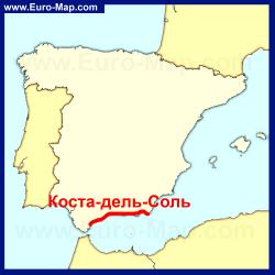 Коста-дель-Соль на карте Испании