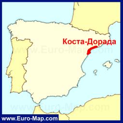 Коста-Дорада на карте Испании