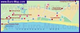 Карта отелей Ла Пинеды