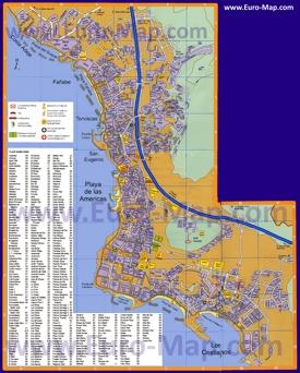 Туристическая карта Плайя-де-лас-Америкас