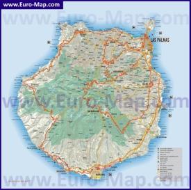 Лас-Пальмас на карте острова Гран-Канария