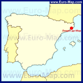 Ллорет-де-Мар на карте Испании