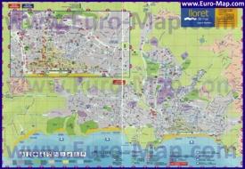 Подробная карта курорта Ллорет-де-Мар