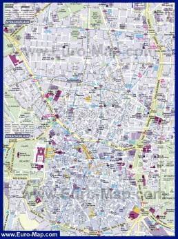 Подробная карта города Мадрид с достопримечательностями