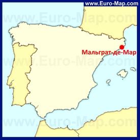 Мальграт-де-Мар на карте Испании