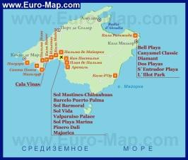 Карта Майорки с отелями