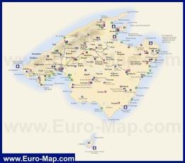 Карта острова Майорка с курортами