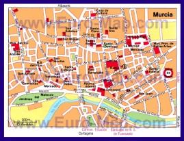 Туристическая карта Мурсии с достопримечательностями