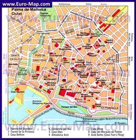 Карта достопримечательностей Пальма-де-Майорки