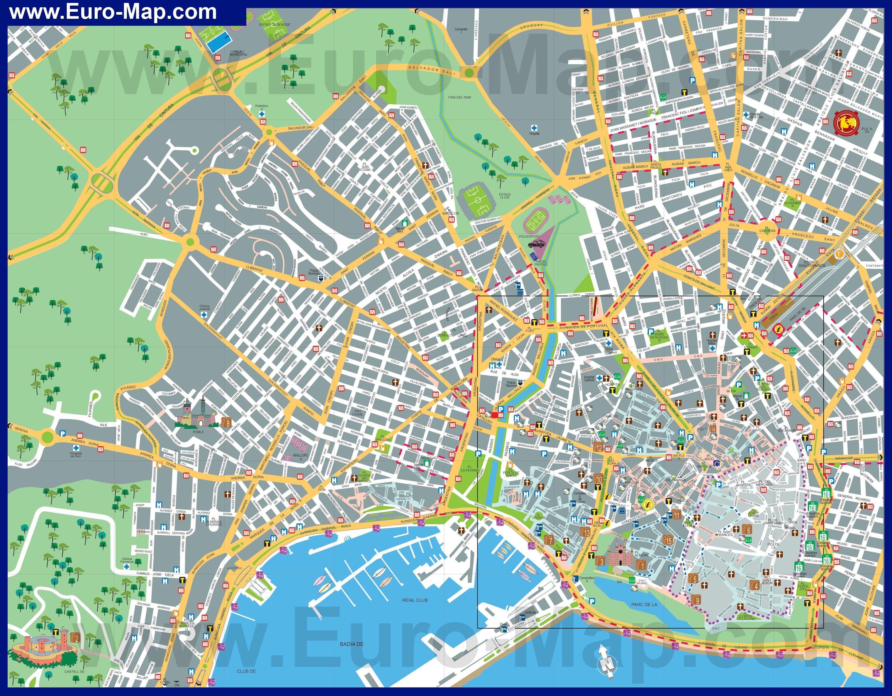 Подробная карта пальмы де майорка с