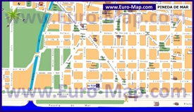Карта города Пинеда-де-Мар с достопримечательностями