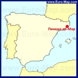 Пинеда-де-Мар на карте Испании