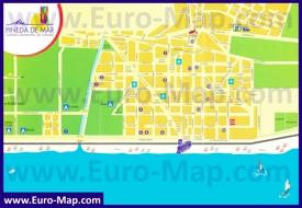 Туристическая карта Пинеда-де-Мар с пляжами