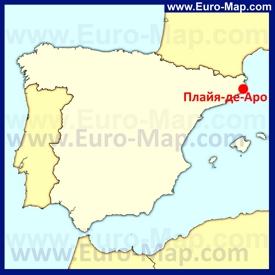 Плайя-де-Аро на карте Испании