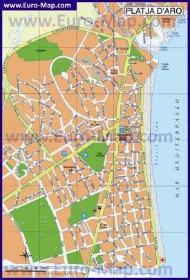 Подробная карта Плайя-де-Аро