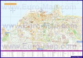 Подробная туристическая карта города Пуэрто-де-ла-Круз с отелями и достопримечательностями