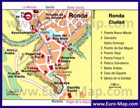 Туристическая карта Ронды с достопримечательностями