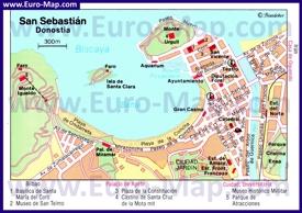 Карта центра Сан-Себастьяна с достопримечательностями