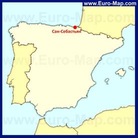 Сан-Себастьян на карте Испании
