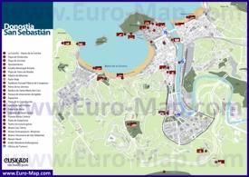 Туристическая карта Сан-Себастьяна с достопримечательностями