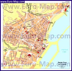 Карта города Санта-Круз-де-Тенерифе с достопримечательностями