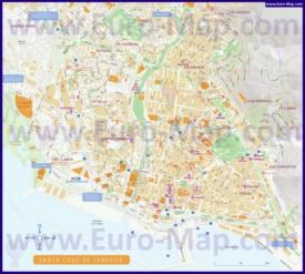 Подробная туристическая карта Санта-Круз-де-Тенерифе с достопримечательностями и отелями