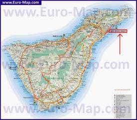 Санта-Круз-де-Тенерифе на карте острова Тенерифе