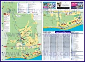 Подробная туристическая карта города Санта-Сусанна с отелями и достопримечательностями