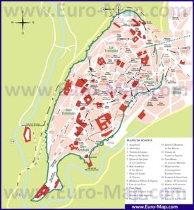 Карта центра Сеговии с достопримечательностями