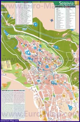 Карта Сеговии с отелями и достопримечательностями