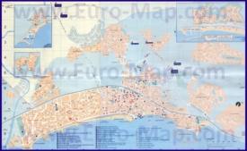 Подробная туристическая карта города Ситжес с достопримечательностями