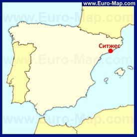 Ситжес на карте Испании
