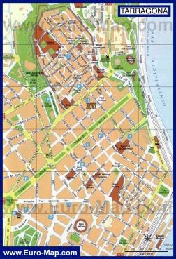 Карта города Таррагона с достопримечательностями
