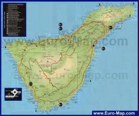 Карта острова Тенерифе с пляжами
