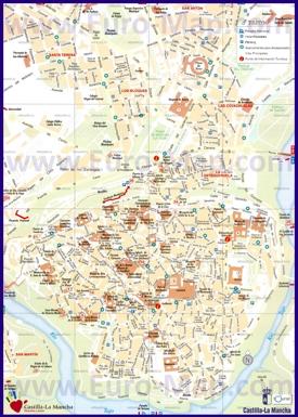 Туристическая карта Толедо с отелями и достопримечательностями