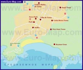 Карта отелей Тосса-де-Мара