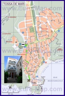 Подробная туристическая карта города Тосса-де-Мар