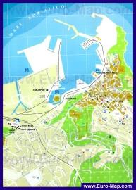 Подробная карта города Анкона с отелями