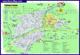 Подробная туристическая карта города Больцано