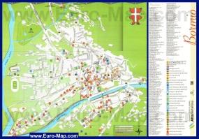 Подробная туристическая карта Бормио с отелями