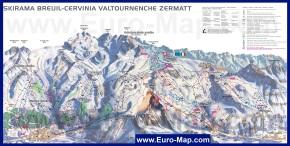Подробная карта горнолыжного курорта Червиния с трассами