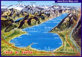 Карта озера Гарда с городами
