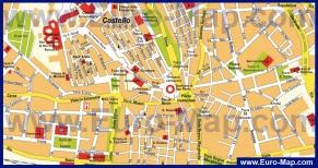 Карта центра Кальяри с достопримечательностями