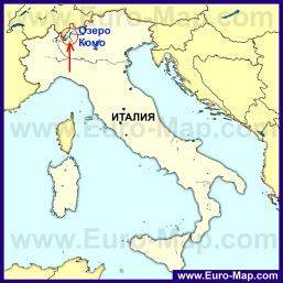 Озеро Комо на карте Италии