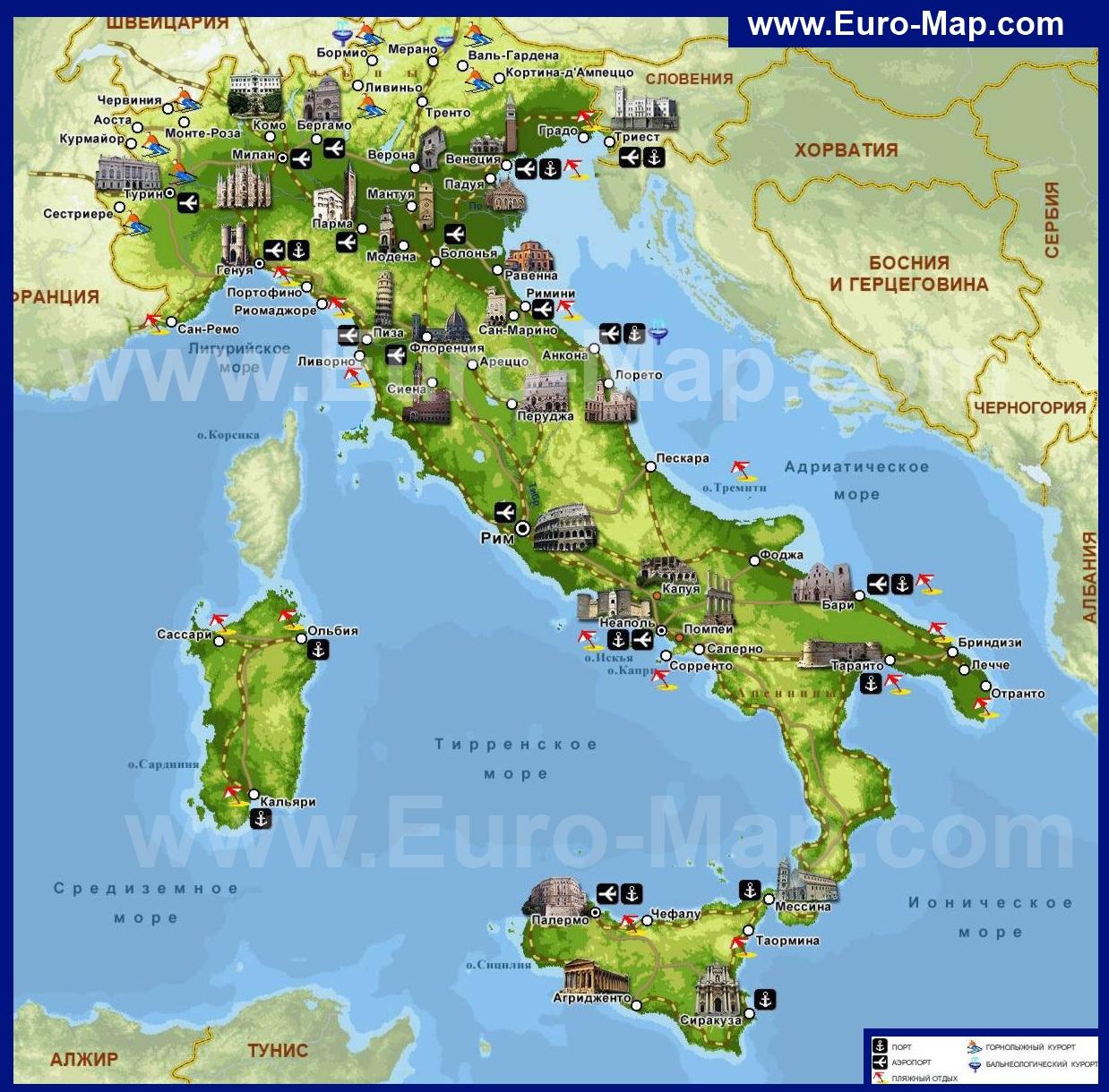 Курорты италии на карте