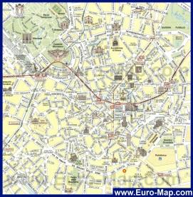 Карта центра Милана с достопримечательностями
