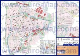 Подробная карта города Падуя с отелями