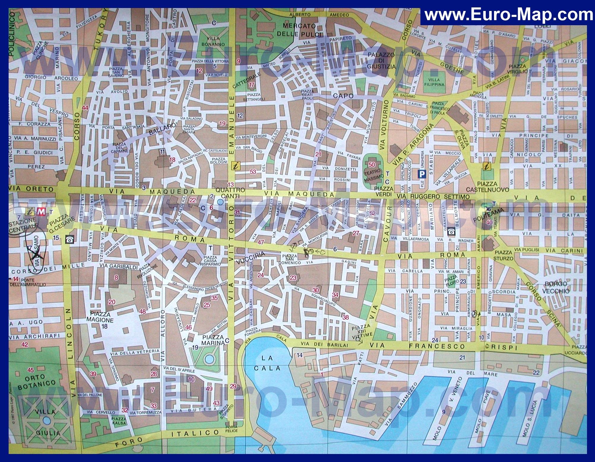 Карта центра палермо