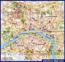 Карта города Пиза с достопримечательностями